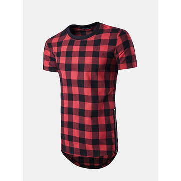 Mens Fashion Summer Long Style Plaid Pattern Side Zipper Round Neck Short Sleeve T-shirt SKU592609