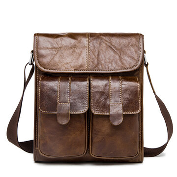 Vintage Genuine Leather Shoulder Bag Business Solid Crossbody Bag For Men
