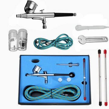 Dual Action 3 Airbrush Air Compressor Kit Body Craft Illustration Tattoo Painting Art Spray Gun Set