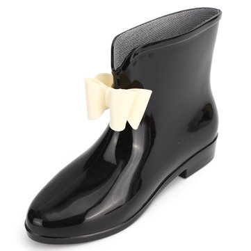 Black Bowknot Waterproof Slip On Ankle Rain Boots