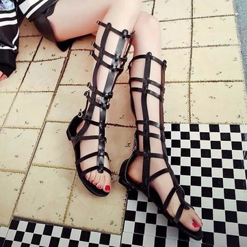 Buy Black Hollow Mid Calf Zipper Buckle Peep Toe Strappy Flat Roman Gladiators Sandals
