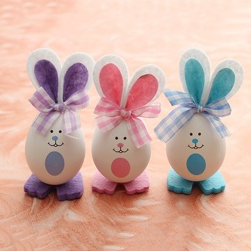 3pcs Easter Decorative Gift Bunny Rabbit Shape Decorative Egg Easter Egg