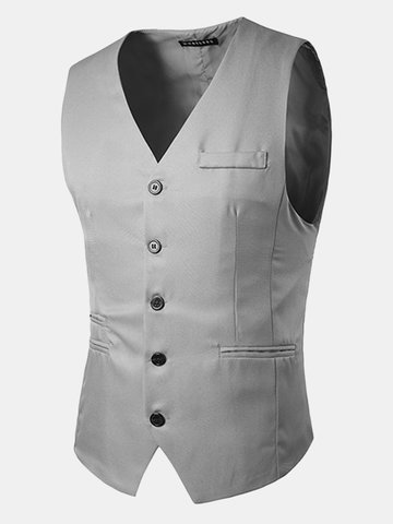 Casual Formal Business Slim Fit Multi Pockets Fashion Pure Color Suit Vest for Men