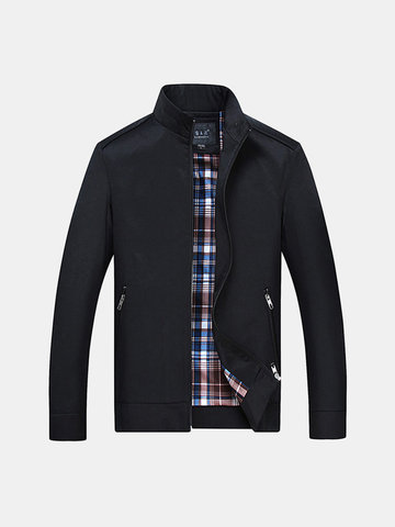 Buy Plus Size Mens Fall Winter Brief Style Stand Collar Solid Color Slim Fit Casual Jacket
