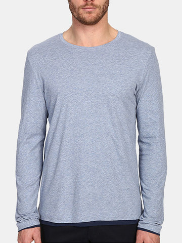Mens Brief Style Solid Color O-neck Long Sleeve Casual Cotton T-shirt SKU717646