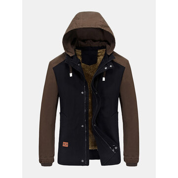 Mens Winter Cotton Blended Two-tone Thick Windproof Warm Detachable Hooded Jacket Coat