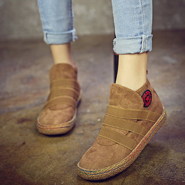 Buy Elastic Slip Pure Color Ankle Flat European Style Boots