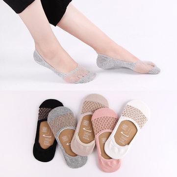 Women Summer Mesh Transparent Invisible Antiskid Boat Sock Breathable Shallow Low Cut Socks SKU683488