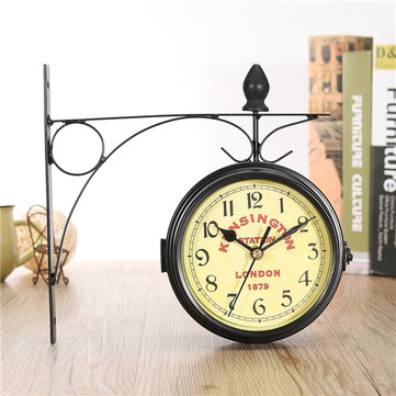 Vintage Double Sided Bicycle Wall Clock Metal Frame Glass Antique Hanging Decorative
