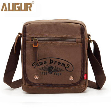 Men Casual Zipper Canvas Outdoor Khaki Coffee Shoulder Crossbody Bag