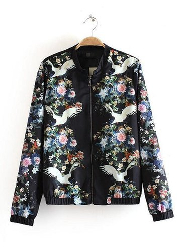 Casual & Sport|Women's|Down Jacket Women Vintage Floral Print Stand Collar Jacket