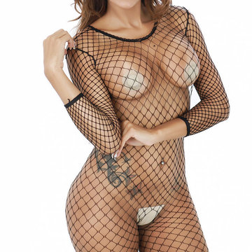 Sexy Elastic Mesh See Through Long Sleeve Hollow Perspective Bodystocking For Women