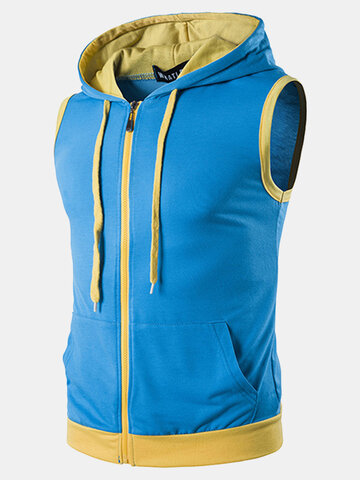 Mens Summer Casual Vest Fashion Stitching Color Sleeveless Hooded Vest