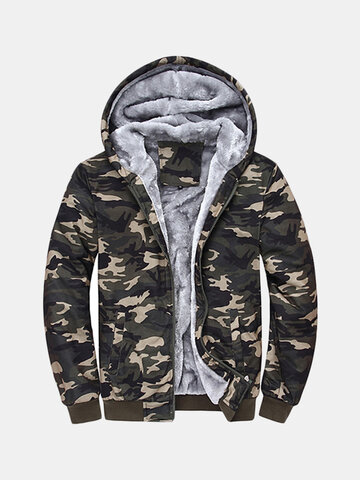 Mens Winter Thick Warm Extra Fleece Lined Army Green Camo Hoodies Casual Zipper Tops Sweatshirt SKU535019