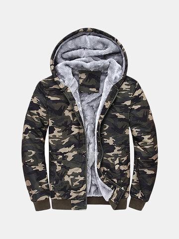 Mens Winter Thick Warm Extra Fleece Lined Army Green Camo Hoodies Casual Zipper Tops Sweatshirt SKU535019