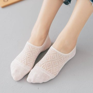 Women Cotton Antiskid Invisible Boat Socks Hollow Low Cut Thin Breathable Ankle Socks SKU672666