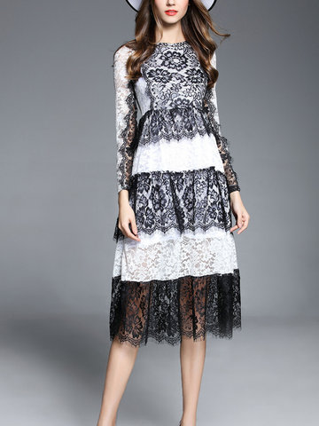 TangJie Sexy Elegant Lace Patchwork Hollowed Out Long Sleeve Women Dresses SKU719317
