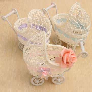 Trolley Cradle Weaving Rattan Basket Storage Bedroom Living Room Home Decor