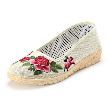 Flower Butterfly Knot Flax Slip On Vintage Flat Shoes