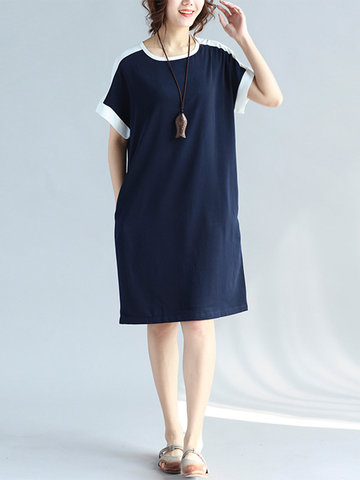 Casual Patchwork Short Sleeve O-neck Loose Women Dresses