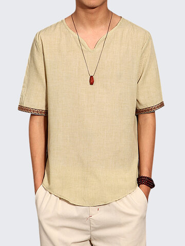 Mens Chinese Style Summer Linen Solid Color Short Sleeve T-shirt V-neck Top Tee