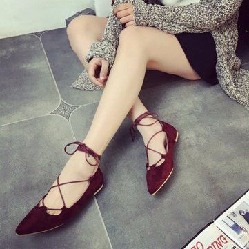 Sexy Strappy Suede Ponited Toe Light Lace Up Flat Ballet Dance Shoes