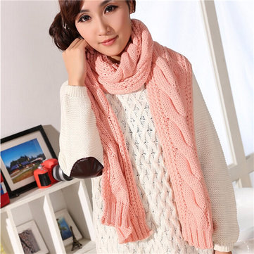 Long Wool Pashmina Warm Knit Scarf Shawl Women Thick Winter Neck Scarves