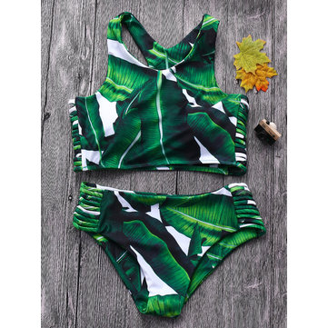 Sexy Leaf Printed Hollow Out Bandage Bikin