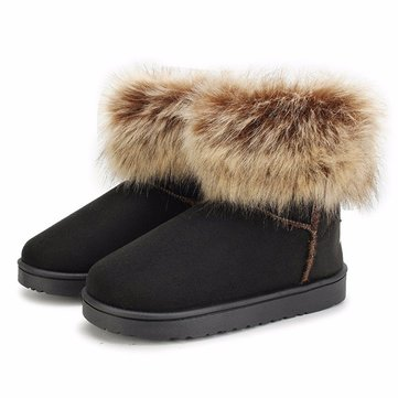 Newchic UK Pure Color Flat Ankle Snow Boots