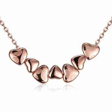 Sweet Necklace Alloy Rose Gold Heart to Heart Necklace for Women SKU518322