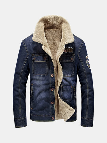 AFSJEEP Outdoor Casual Multi Pockets Thicken Warm Denim Jackets for Men