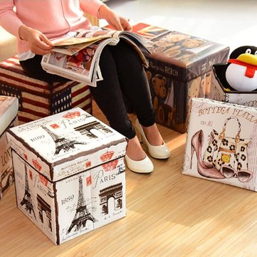 Foldable Storage Stool Square Folding Moving Box Multifunctional Case Non-woven Storage Containers