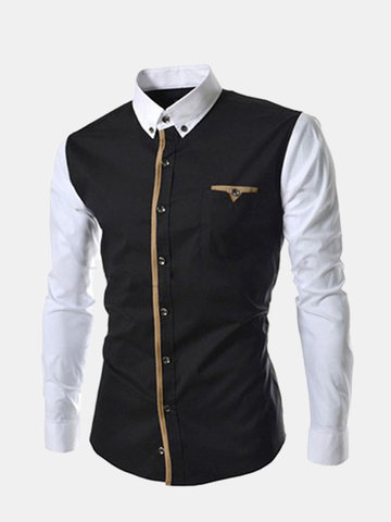 Casual Business Fashion Stitching Mixed Colors Long Sleeve Dress Shirts for Men SKU125824