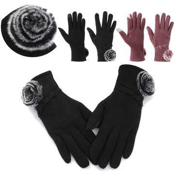 Women Thermal Winter Warm Motorcycle Outdoor Sports Leather Touch Screen Gloves SKU503250