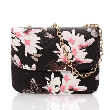Women Elegant Crossbody Bags Flower Print Shoulder Bags Chain Bags