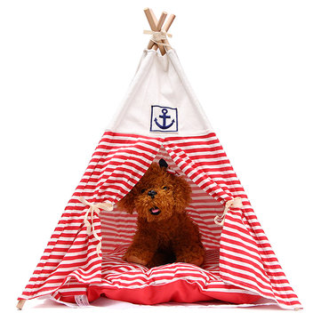 60*60*84cm Cat Dog Sleeping House Red Navy Striped Washable Tent With Cushion