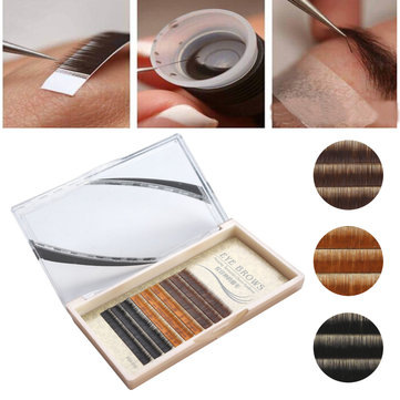 Mixed Color Mink Eyebrow Extensions Natural Individual Curl Charm False Eyelashes Graft