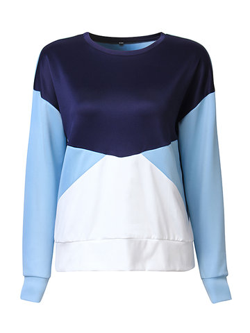 Casual Loose Women O Neck Contrast Color Long Sleeve Sweatshirt Blouse