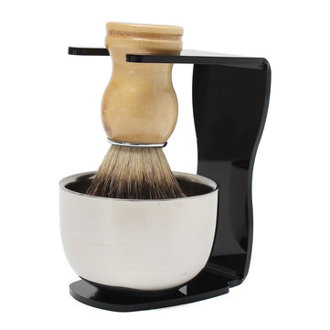 Men Shaving Beard Cleaning Set Stand  Badger Hair Brush  Stainless Steel Bowl Mug