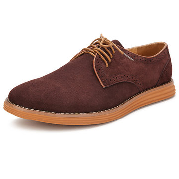 Buy Big Size Men Suede Pure Color Lace Flat Casual Oxford Shoes