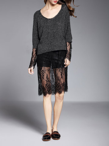 TangJie Sexy Elegant Lace Patchwork Hollowed Out Long Sleeve Women Dresses SKU719341
