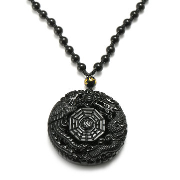Black Obsidian Necklace Lucky Pendant Tai-Chi Chain Necklace