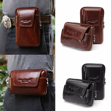 Genuine Leather Waist Bag 4.7'' 5'' Phone Bag Vertical Horizontal Bag For Men