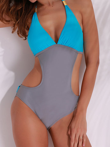 Sexy V-neck Halter Two-tone Patchwork Backless Wire Free Monokini Swimwear
