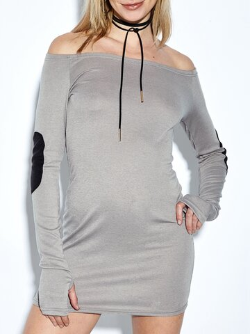 Sexy Off-shoulder Long Sleeve Women Mini Dress