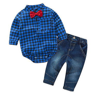 Plaid Baby Romper Jeans Clothing Set SKU784686
