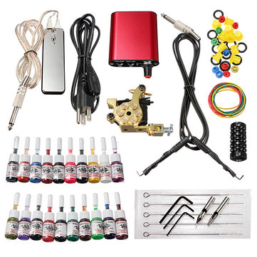 220V Professional Tattoo Machine Kit 20 Colors Ink Power Supply Set SKU064652