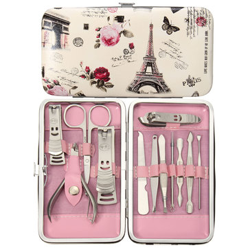 12Pcs Pedicure Manicure Set Nail Cuticle Clippers Cleaner Tool Grooming Kit With Case SKU449164