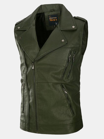 PU Leather Washed Vest SKU750432
