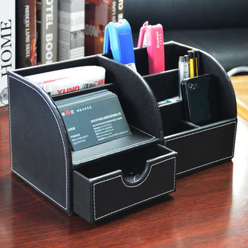 Multipurpose PU Leather Stationery Pen Remote Control Desk Organizer Box Holder Storage Container